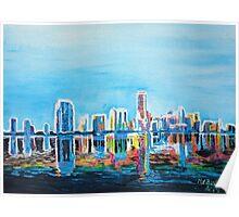 Neon Shimmering Skyline Miami, Florida Poster