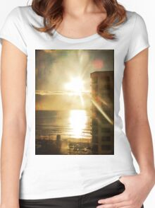 Textured Sunrise Women's Fitted Scoop T-Shirt