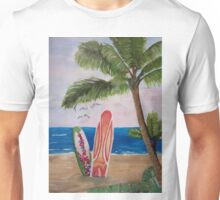 Caribbean Strand with Surf Boards Unisex T-Shirt