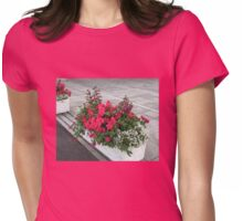Floral Display with Red Begonias and Penstemon Womens Fitted T-Shirt