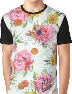 Pink Roses Watercolors Floral Pattern Graphic T-Shirt