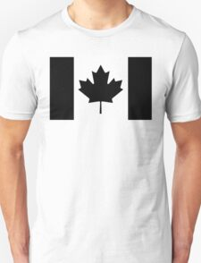 Canadian Flag Black And White T-Shirt