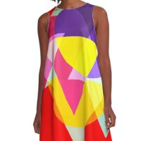 Abstract Colorful Geometric Art A-Line Dress