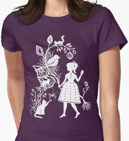 Young Girl With Branch & Animals Womens Fitted T-Shirt