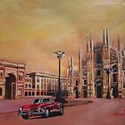 Milan Cathedral with Oldtimer Convertible Alfa Romeo by artshop77
