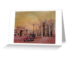 Milan Cathedral with Oldtimer Convertible Alfa Romeo Greeting Card