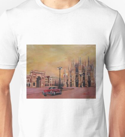 Milan Cathedral with Oldtimer Convertible Alfa Romeo Unisex T-Shirt