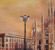 Milan Cathedral with Oldtimer Convertible Alfa Romeo Sticker