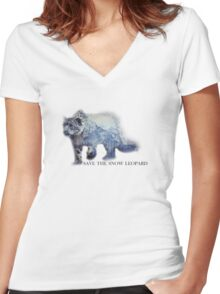 2016 Snow Leopard Day Women's Fitted V-Neck T-Shirt