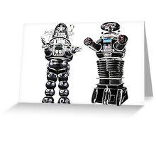 RETRO Robots Attack! Greeting Card