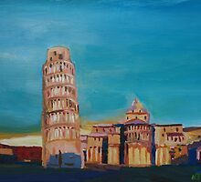 Leaning Tower of Pisa with Cathedral Square Italy  by artshop77