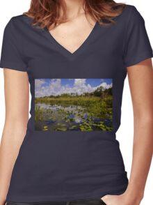 Peaceful marsh Women's Fitted V-Neck T-Shirt
