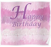 Pink Happy Birthday Poster
