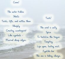 Music Of The Wind And Waves Poem On Ocean Background Sticker