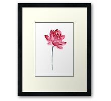 Pink Lotus Flower Poster Watercolor Painting Illustration Drawing Framed Print