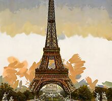 A digital painting of the Eiffel Tower, full-view, looking toward the Palais du Trocadéro, Paris, France by Dennis Melling