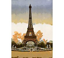A digital painting of the Eiffel Tower, full-view, looking toward the Palais du Trocadéro, Paris, France Photographic Print