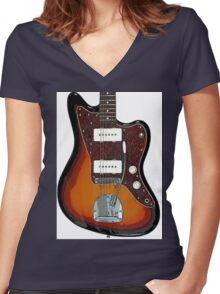 Fender Jaguar two tone tobacco Women's Fitted V-Neck T-Shirt