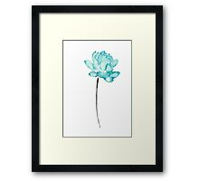 Lotus Water Flower Blue Watercolor Painting Picture Poster Framed Print