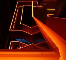 Orange stairs by Lindie Allen