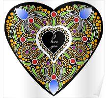 I love you (black heart) Poster