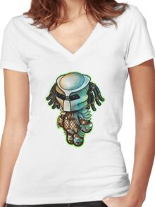 """PREDATOR"" POOTERBELLY - DIE CUT Women's Fitted V-Neck T-Shirt"