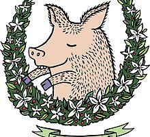 'Sir Piggae' Pig Wreath by Hazel Partridge