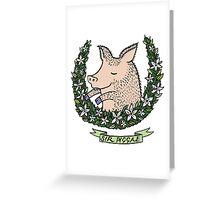'Sir Piggae' Pig Wreath Greeting Card
