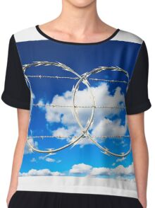 Clouds through Razor Wire Chiffon Top
