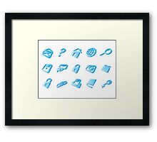 Blue website and internet icons Framed Print