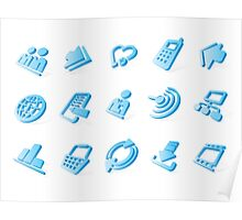 Blue website and internet icons Poster