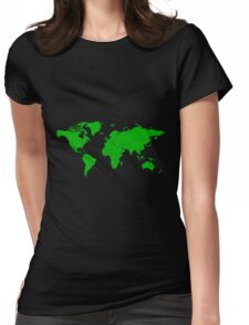 Green Map Of The World Womens Fitted T-Shirt