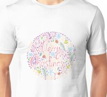 Merry Christmas text with holiday elements Unisex T-Shirt