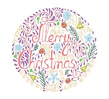 Merry Christmas text with holiday elements Photographic Print