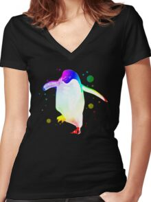 Psychedelic Penguin Women's Fitted V-Neck T-Shirt