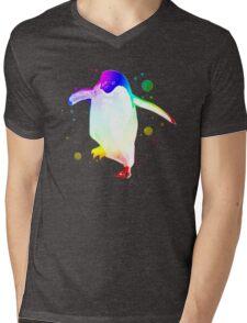 Psychedelic Penguin Mens V-Neck T-Shirt