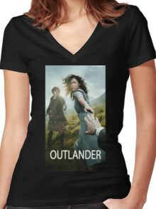 Jamie and Claire outlander scene Women's Fitted V-Neck T-Shirt