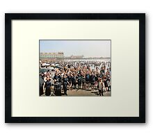 Hands up to the camera! on the beach at Atlantic CIty, NJ, 1905 Framed Print