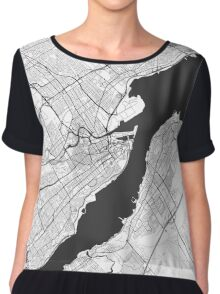 Quebec City Map Gray Chiffon Top