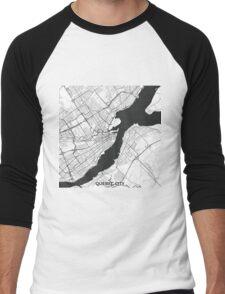 Quebec City Map Gray Men's Baseball ¾ T-Shirt