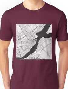 Quebec City Map Gray Unisex T-Shirt