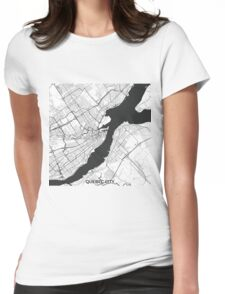 Quebec City Map Gray Womens Fitted T-Shirt