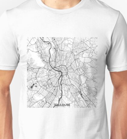 Toulouse Map Gray Unisex T-Shirt