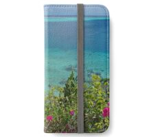 Viewpoint over lagoon with boats and flowers iPhone Wallet/Case/Skin