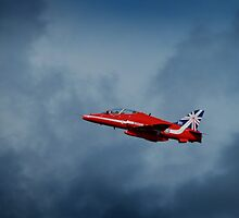 Vivid red arrow through stormy skies by miradorpictures