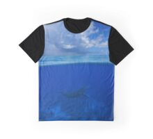 Whale underwater sea split with cloudy blue sky Graphic T-Shirt