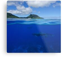 Whales underwater split with island at the horizon Metal Print