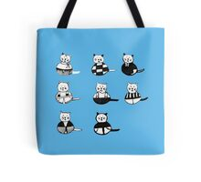8 different cats in black and white Tote Bag