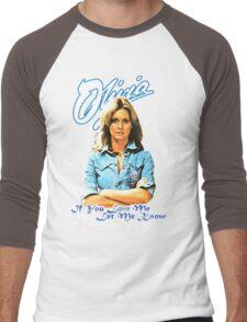 Olivia Newton-John - 70's  If You Love Me, Let Me Know Men's Baseball ¾ T-Shirt