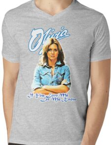 Olivia Newton-John - 70's  If You Love Me, Let Me Know Mens V-Neck T-Shirt